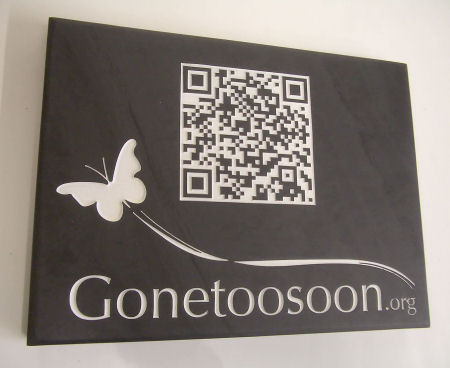 Gone Too Soon QR Code on Slate