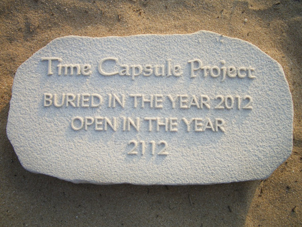 100 year time capsule made using a sandstone plaque