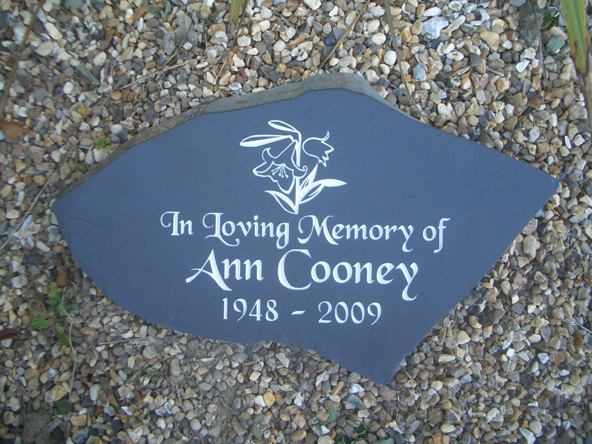 natural look slate memorial stone in back garden